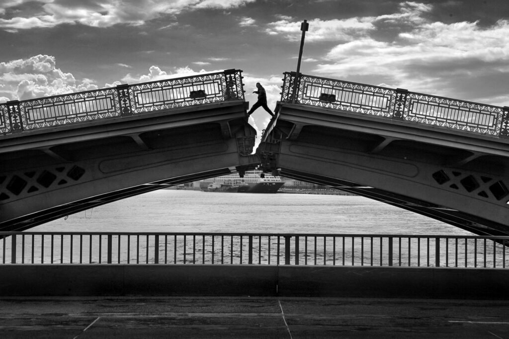 Opening of the bridge in the center of St.Petersburg Russia